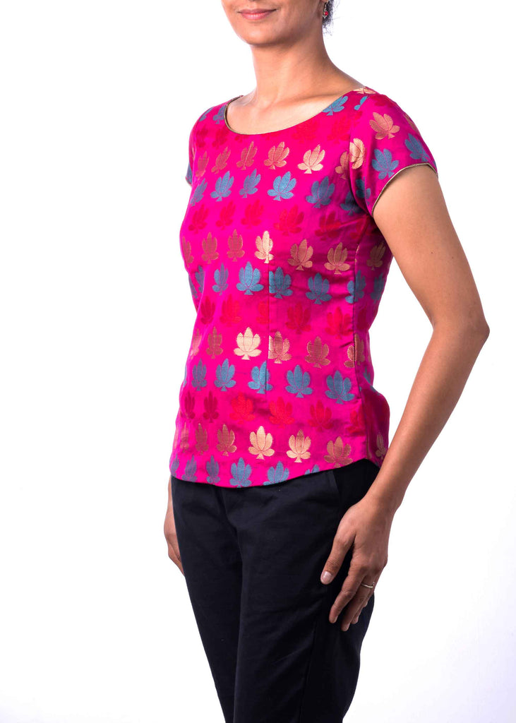 DesiCrafts Hot Pink Teal and Gold Chanderi Silk Top
