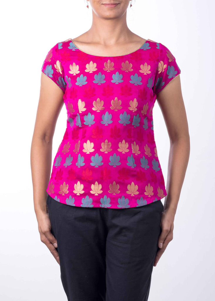 Hot Pink Teal and Gold Chanderi Silk Top By DesiCrafts