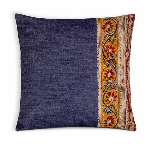 Denim and Kalamkari Outdoor Pillow Cover