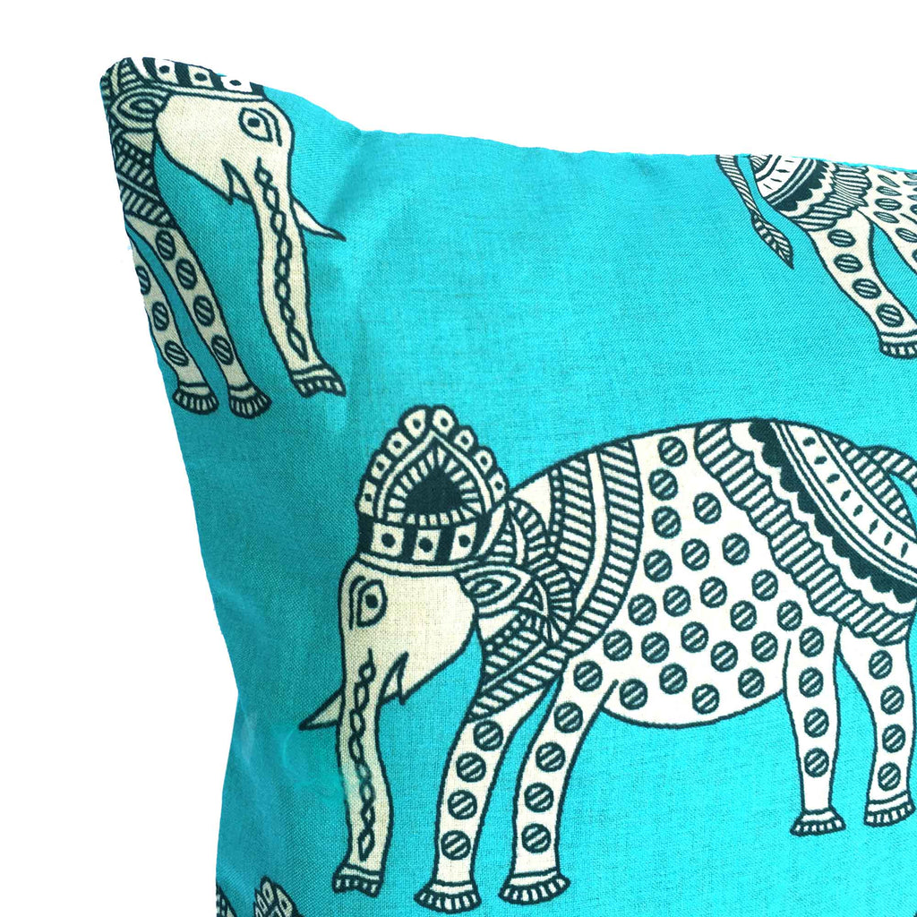 Teal Elephant Silk Lumber Pillow Cover