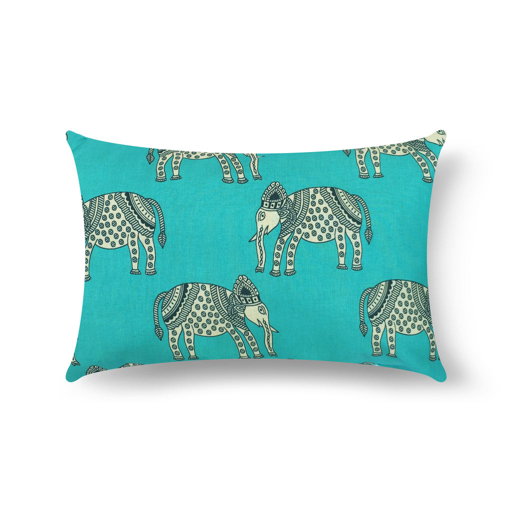 Teal Elephant Silk Lumber Pillow Cover Buy Online From DesiCrafts