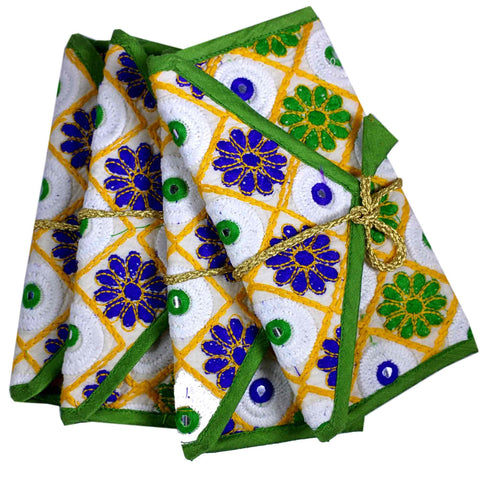 Set of 4 Mirror Embroidery Fabric Gift Envelopes