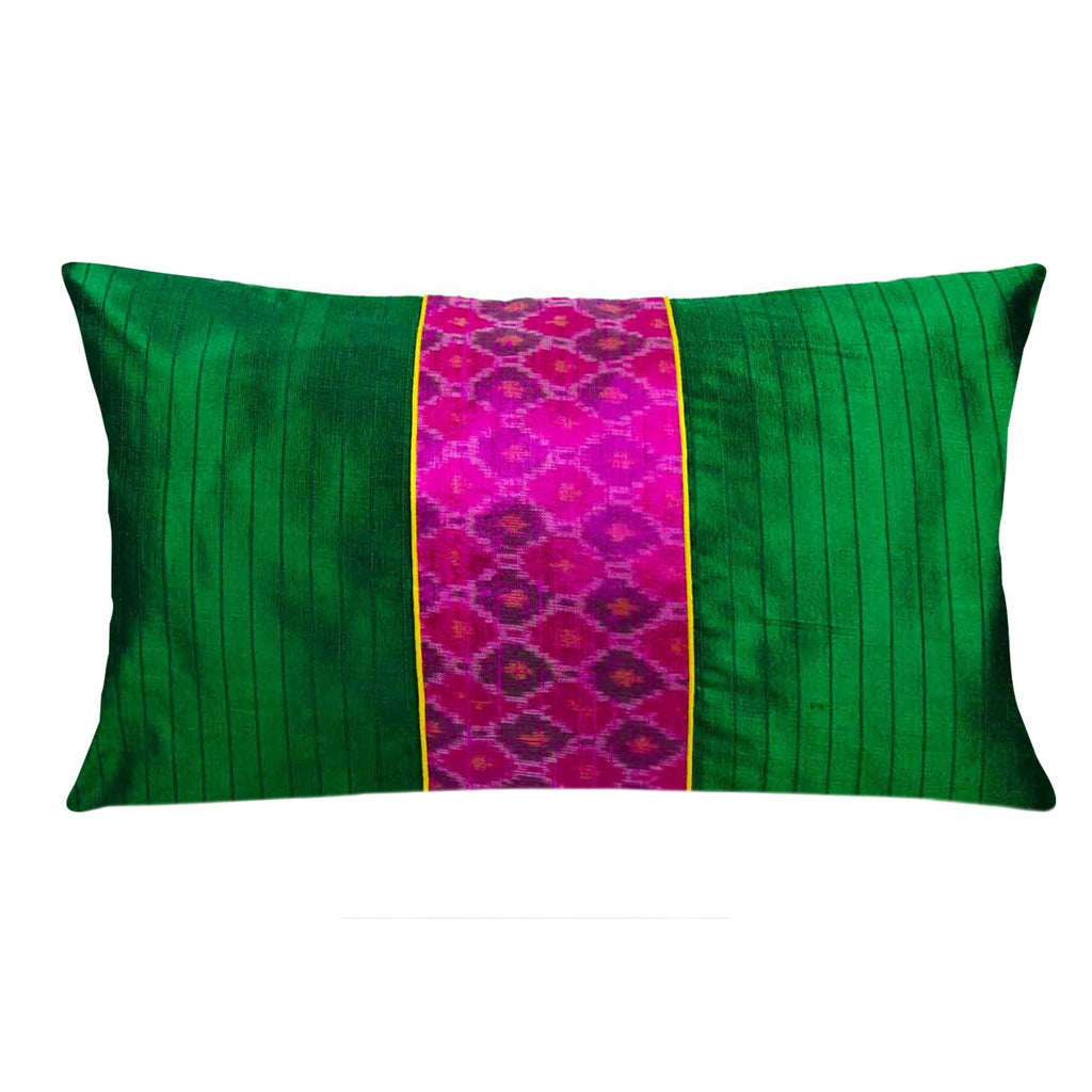 emerald green and magenta raw silk pillow cover