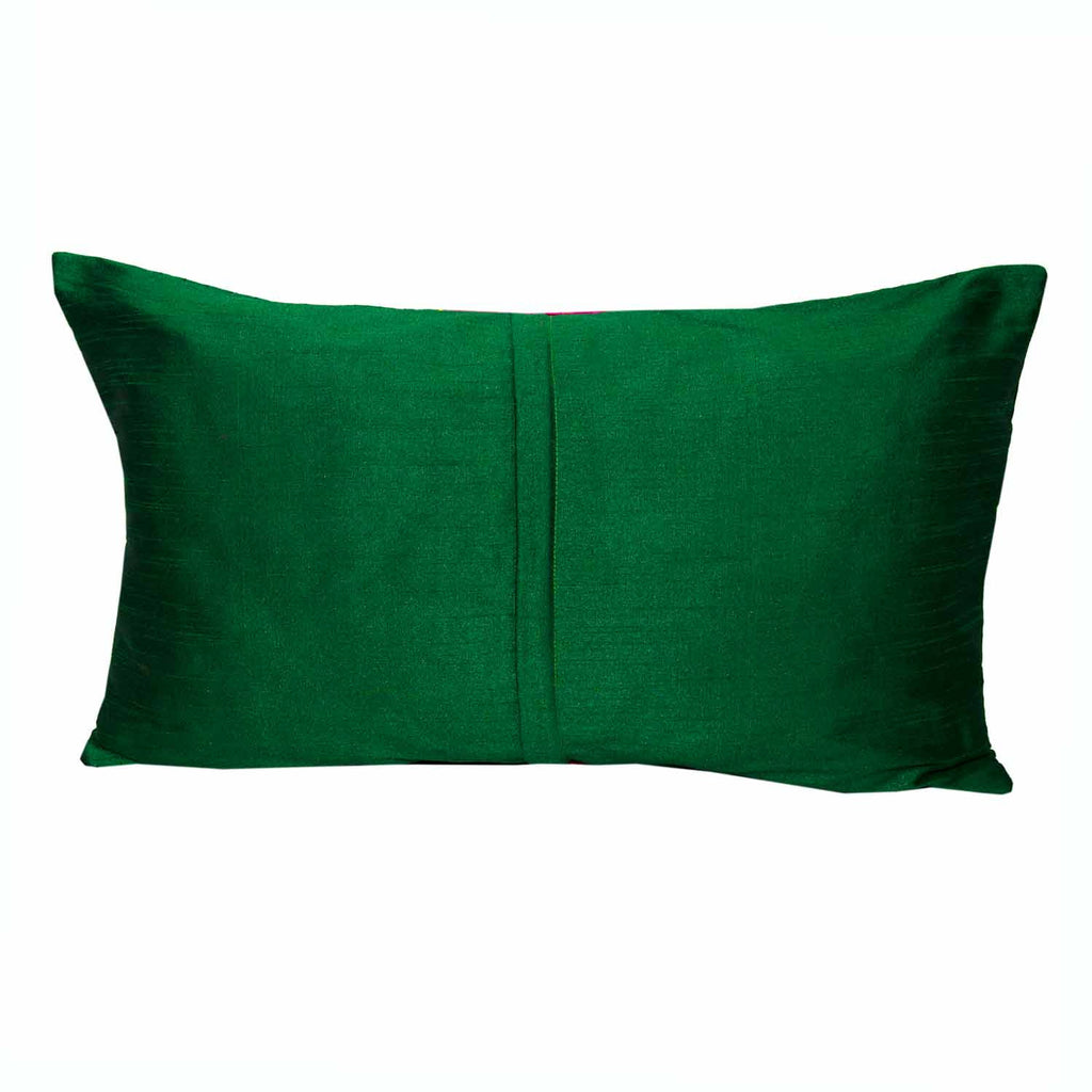 zipper style emerald green and magenta raw silk pillow cover