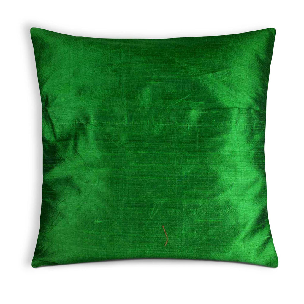 Emerald green silk pillow cover buy online from DesiCrafts