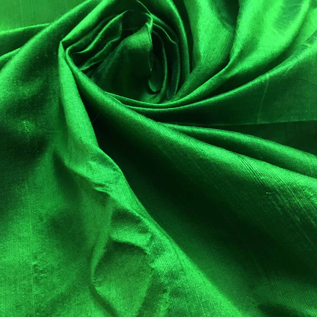 Handwoven Emerald Green Raw Silk Fabric