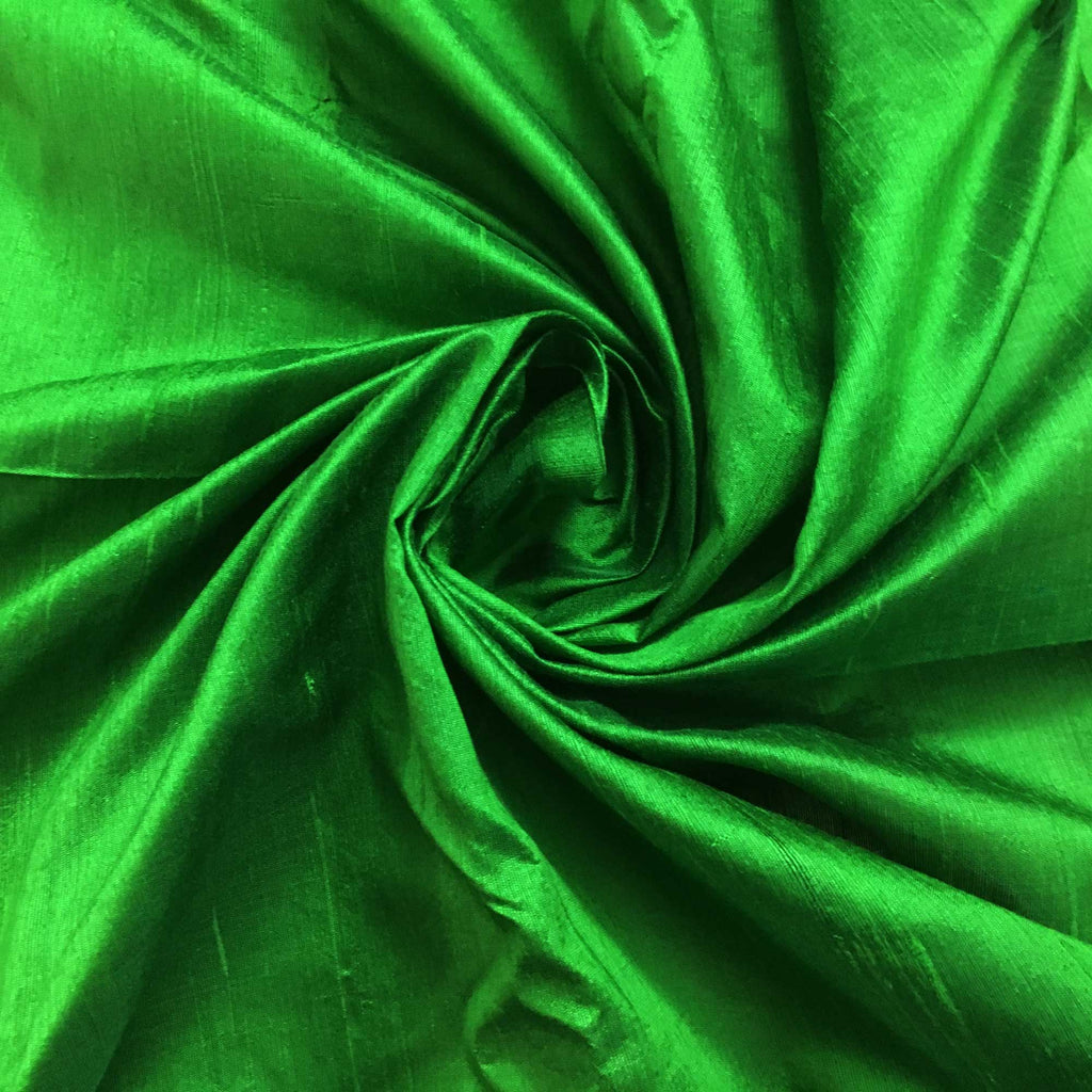 Emerald Green Raw Silk Fabric