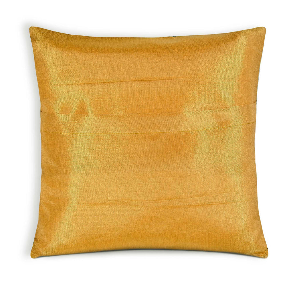 Teal and Gold Silk Pillow Cover in Envelope Closing