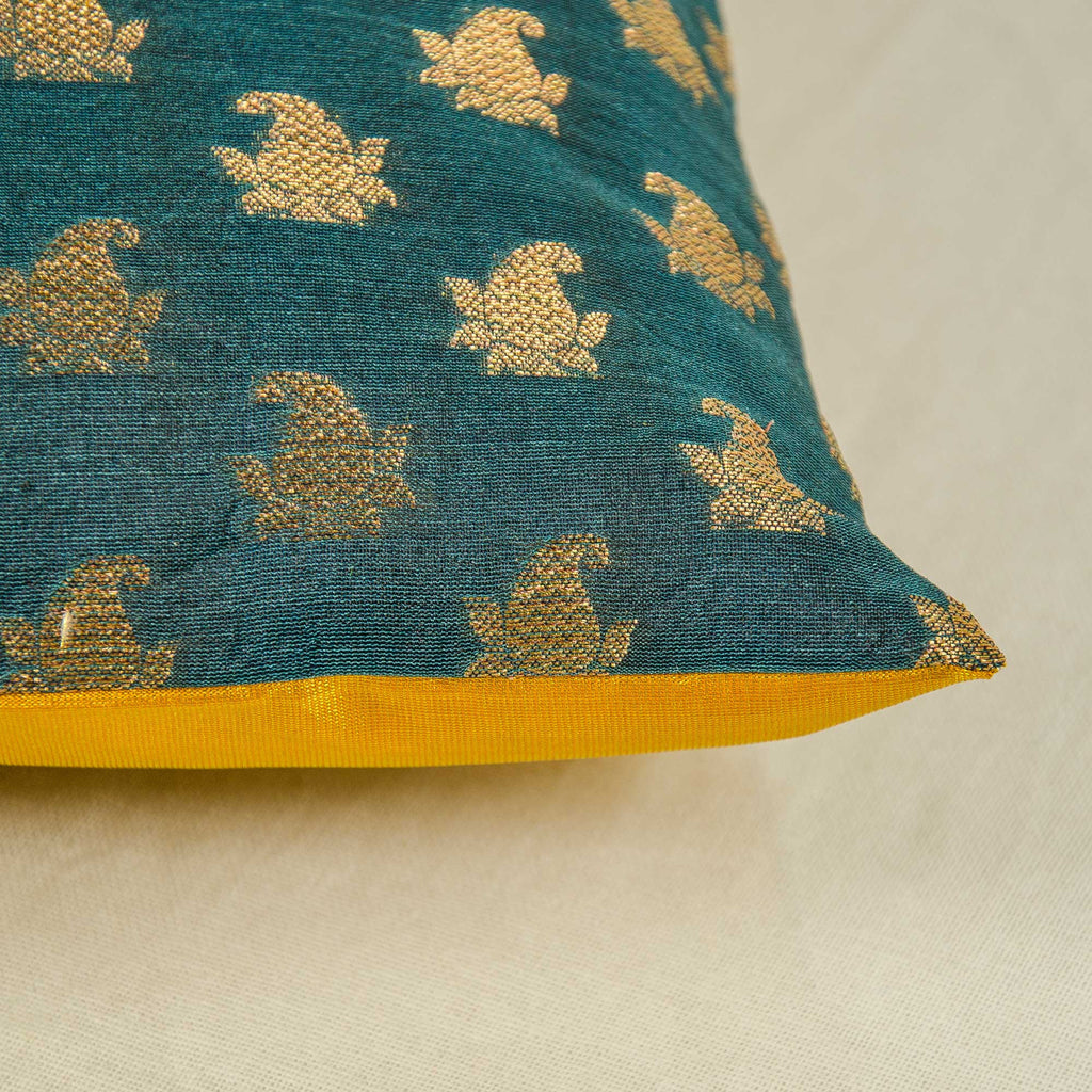 Teal and Gold chanderi silk pillow
