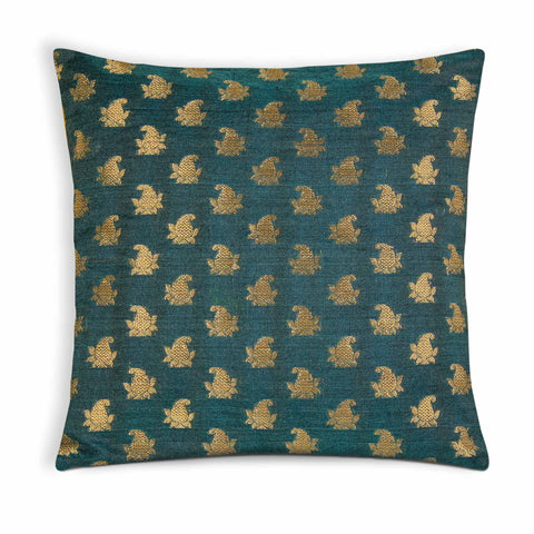 Teal and Gold Silk Pillow Cover