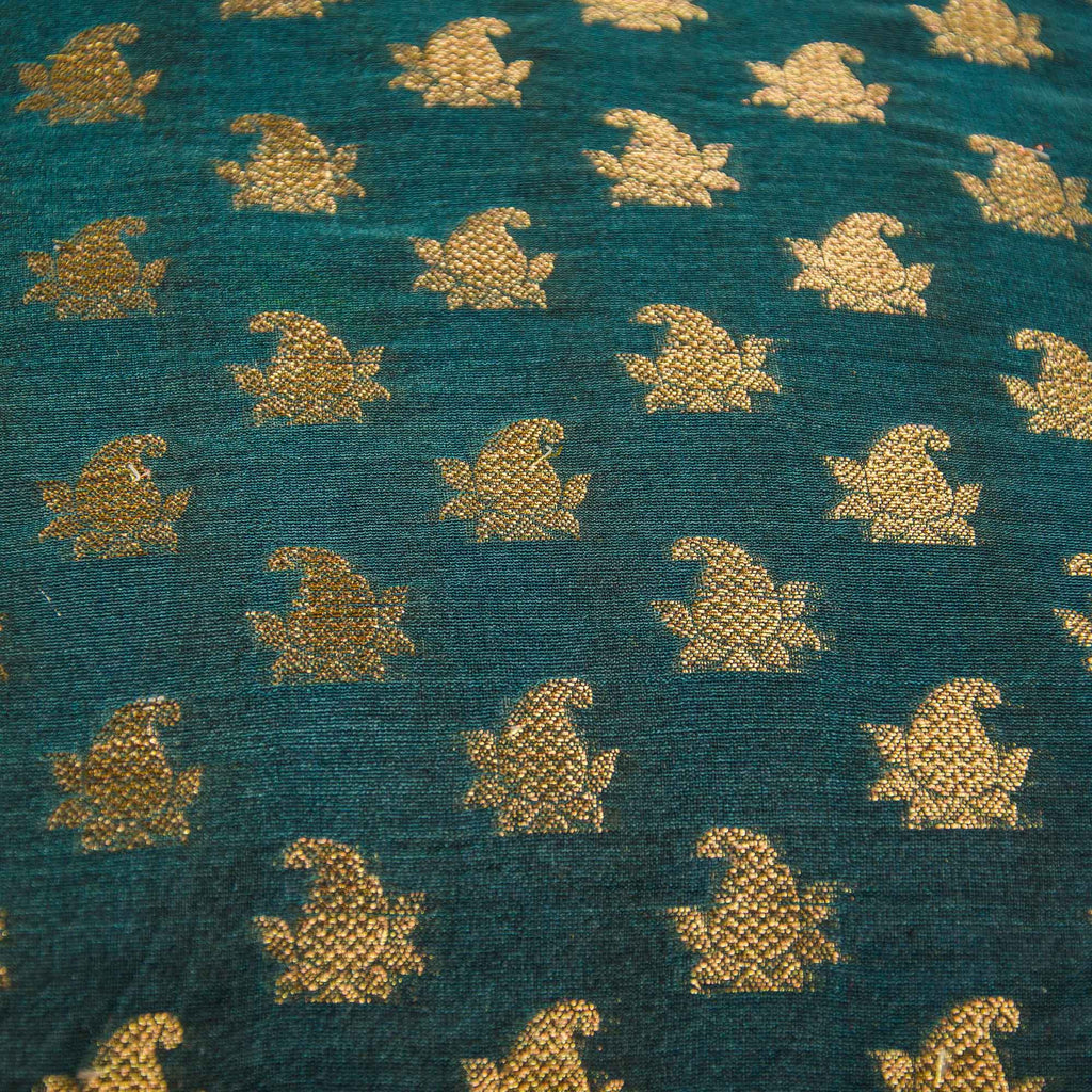teal and gold silk pillow or cushion cover