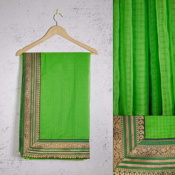 green and gold kota silk saree by DesiCrafts