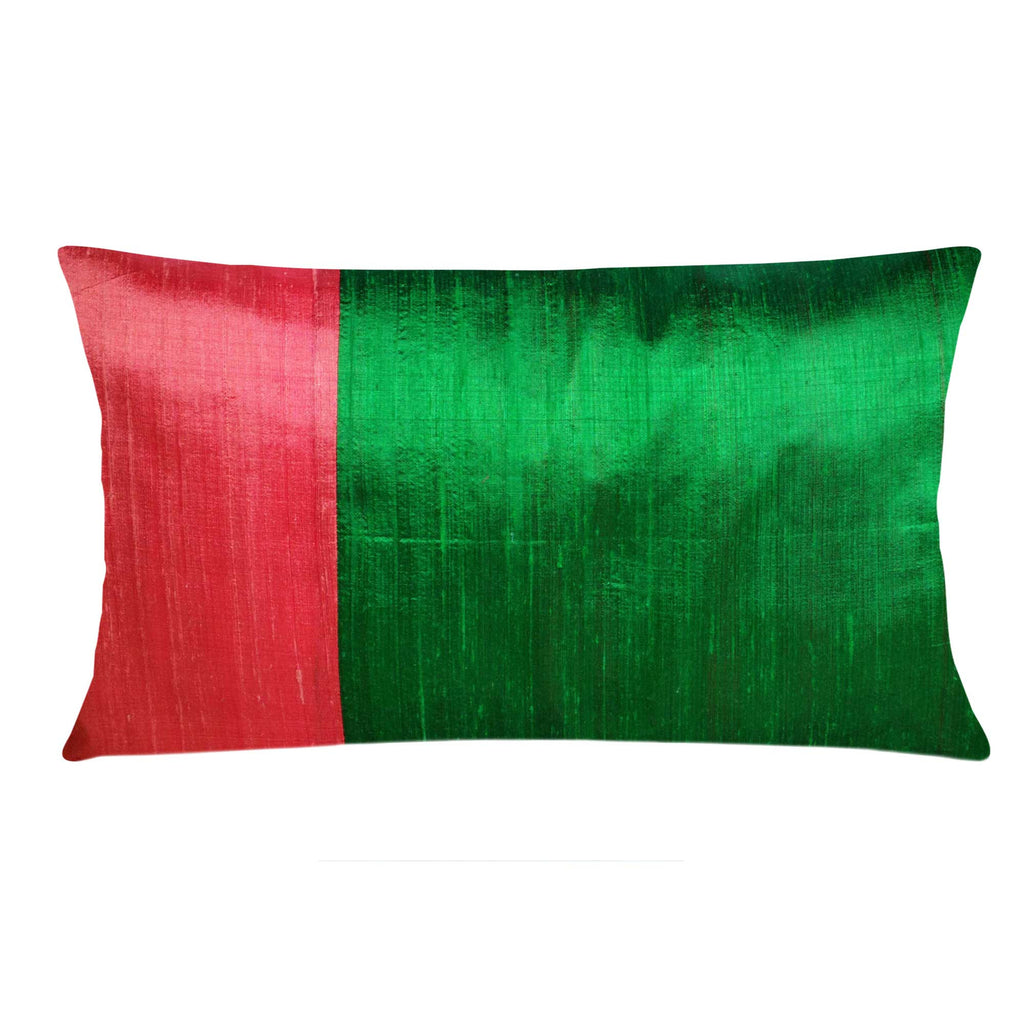 Green and coral lumber raw silk pillow cover buy online from DesiCrafts
