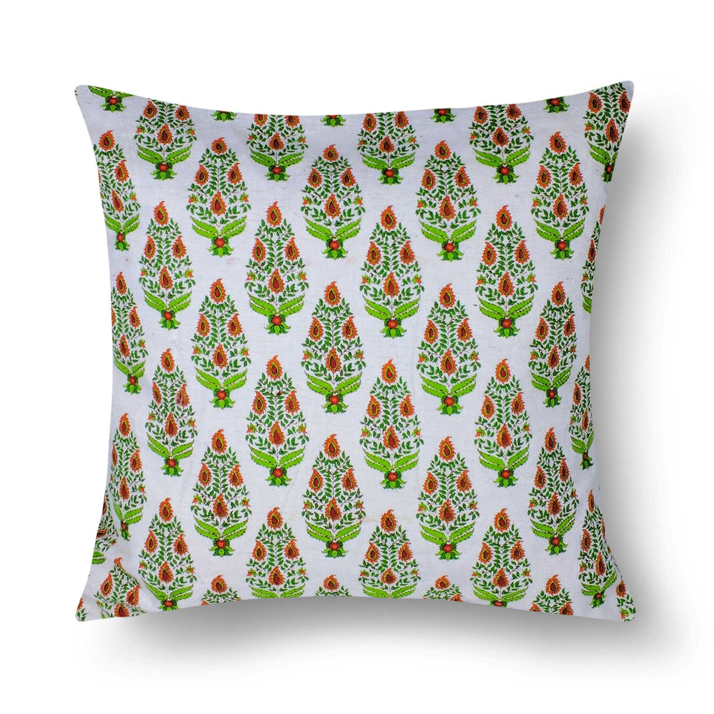 Green and Cream Tree Pattern Cotton Cushion