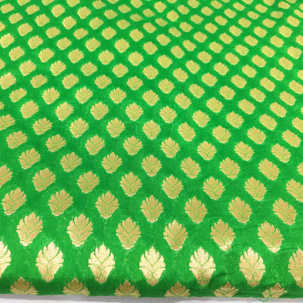 Emerald Green and Gold Banaras Silk Fabric