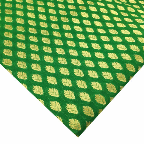 Emerald green and gold banarasi fabric by DesiCrafts