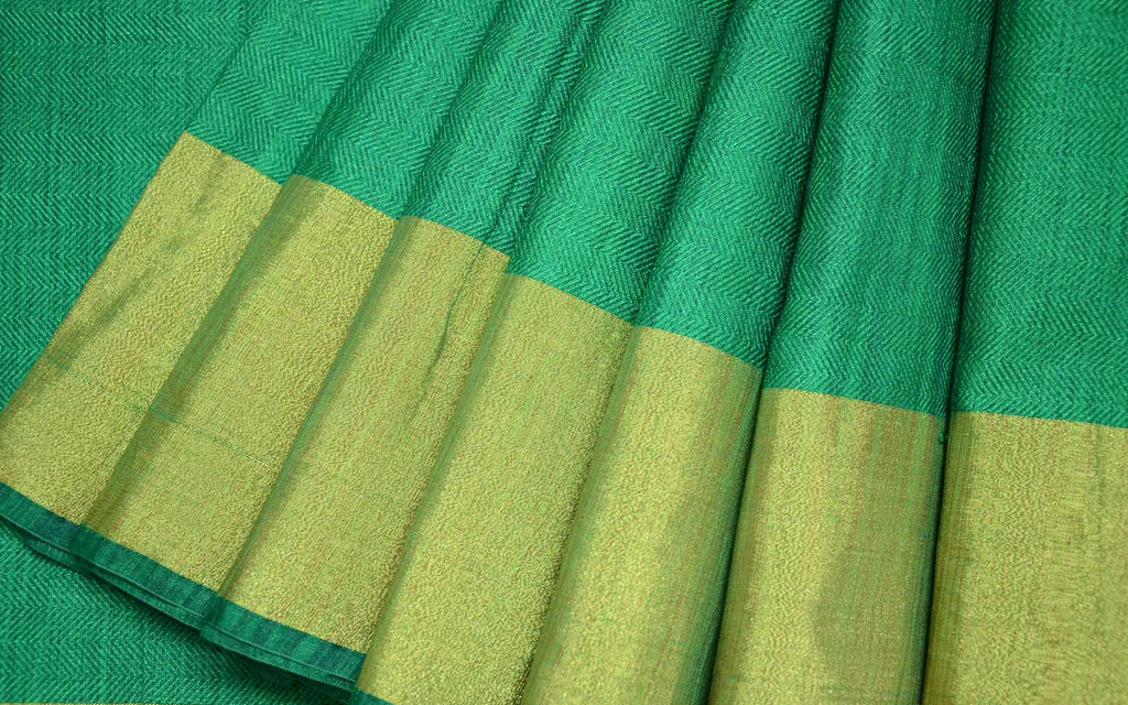 Green and Gold Polyester Silk Sari Buy Online from India DesiCrafts
