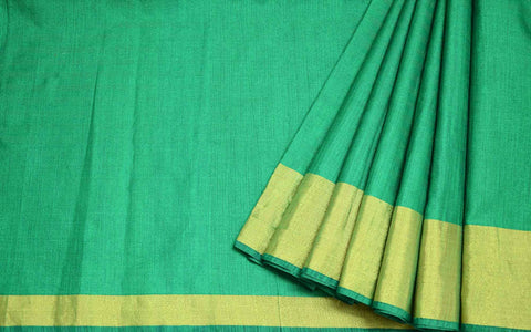 Green and Gold Polyester Silk Sari Buy Online from DesiCrafts