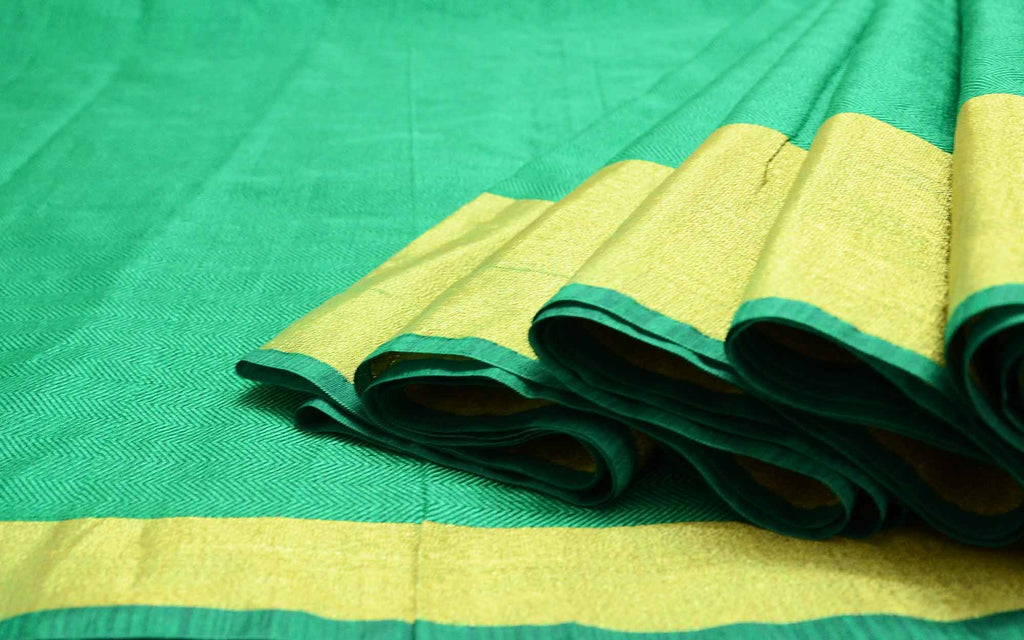 Self Print Emerald Green and Gold Sari Buy Online from India