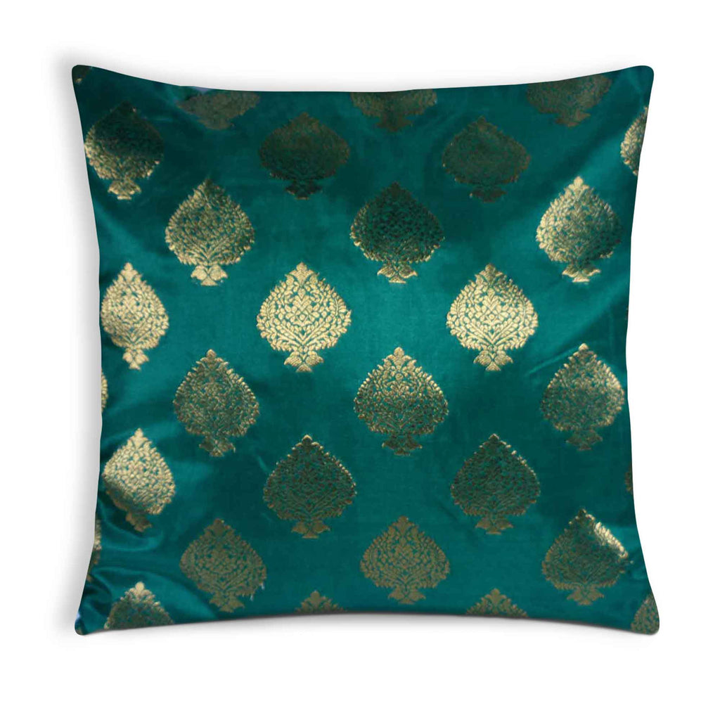 Green and gold silk pillow cover buy online from desicrafts