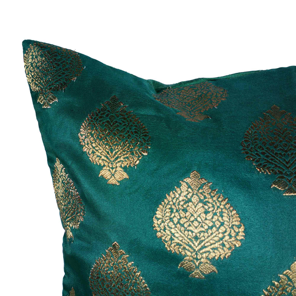 Green and gold silk cushion cover buy online from India