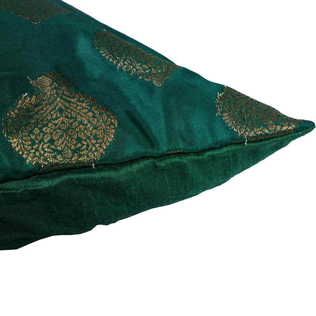 Green and gold silk cushion cover buy online