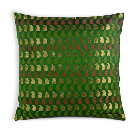 Green and Gold Silk Pillow