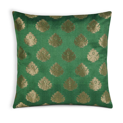 Emerald Green and Gold Chanderi Silk Pillow