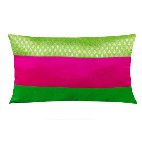 Neon Pink Gold and Green Multicolor Banars Silk Lumbar Pillow Cover