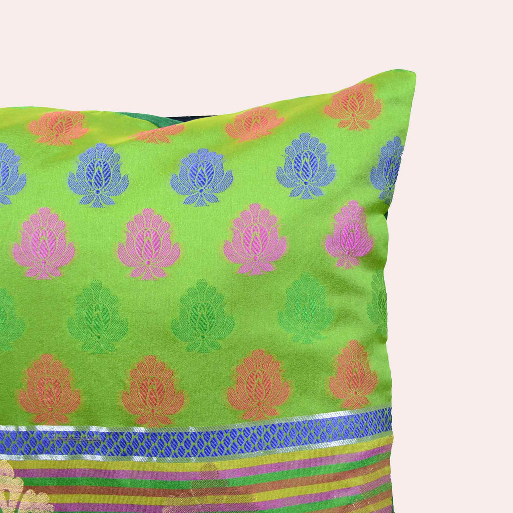 Green pink and gold border buy online from India