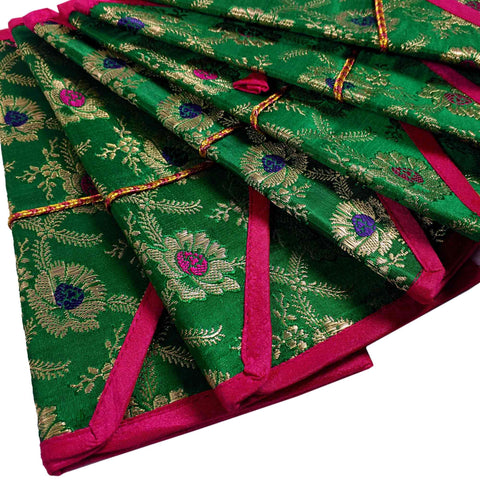 Set of 5 Green Magenta and Gold Silk Fabric Gift Envelopes