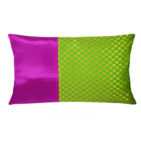 Green Magenta and Gold Silk Cushion Cover