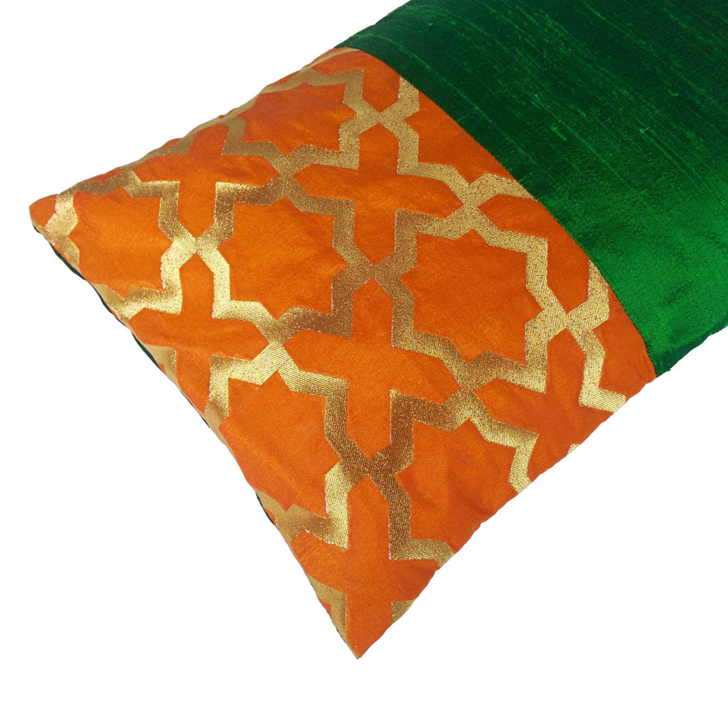 Green and Orange Damask Raw Silk Lumber Pillow Cover Buy Online From India