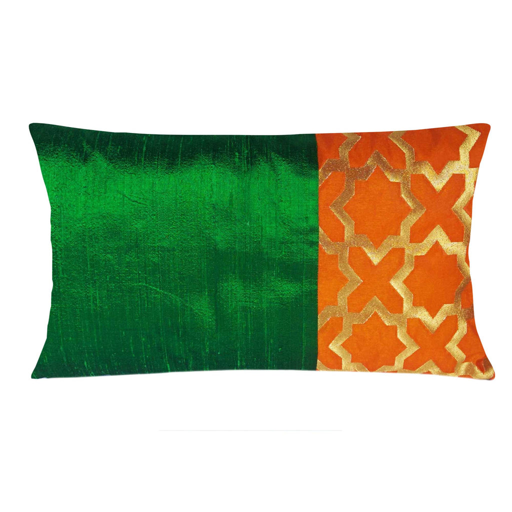 Green and Orange Damask Raw Silk Lumber Pillow Cover Buy Online From DesiCrafts