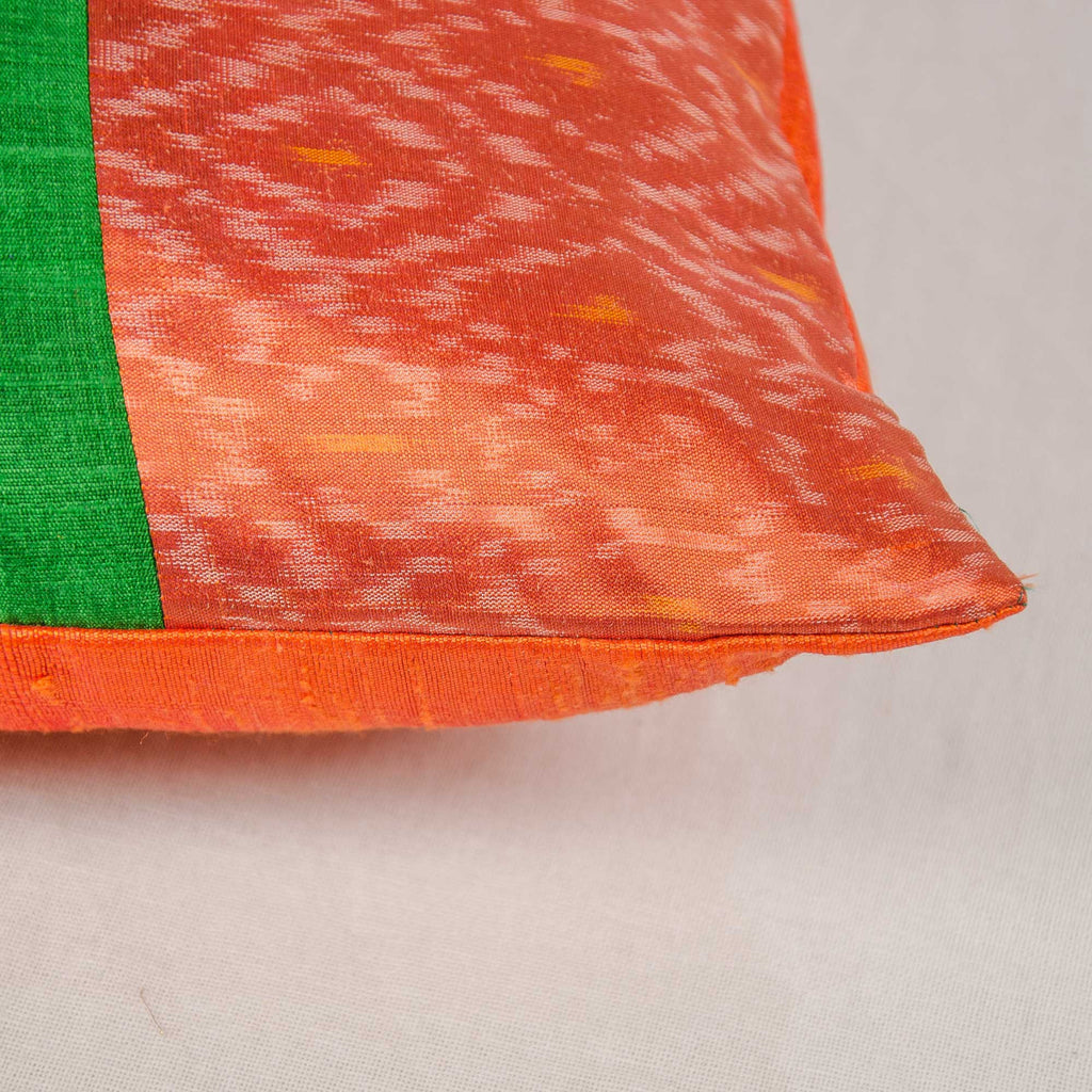 Green and Orange Ikat Raw Silk Pillow Cover