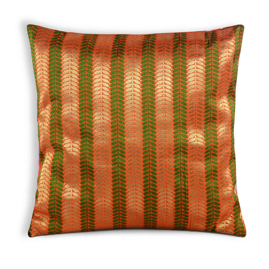 Orange and Green Silk Pillow Cover