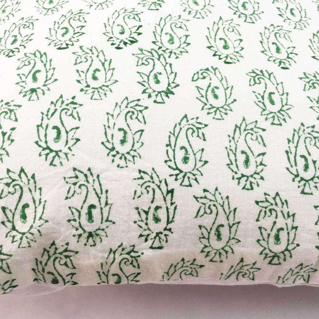 White Green Paisley Print Cotton Cushion Cover