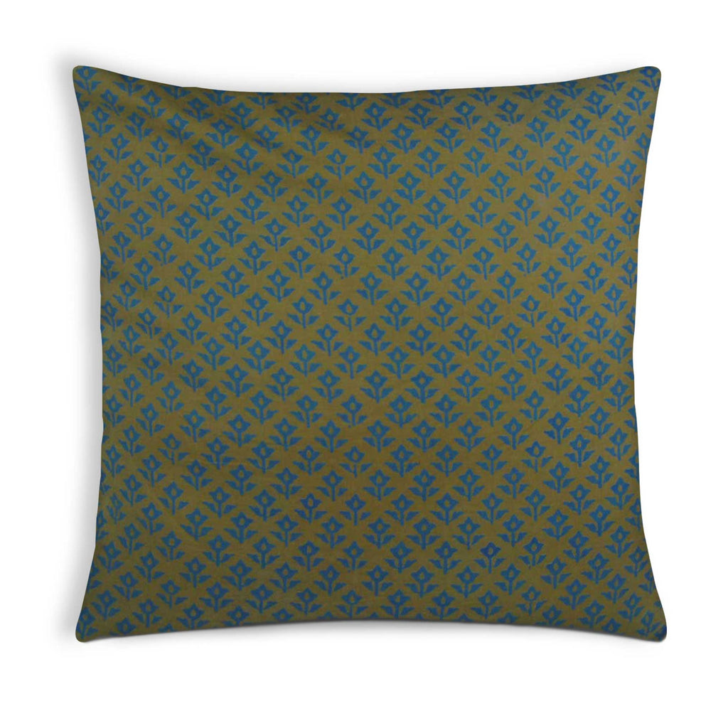 Teal and Olive Cotton Pillow Cover Buy Online From DesiCrafts
