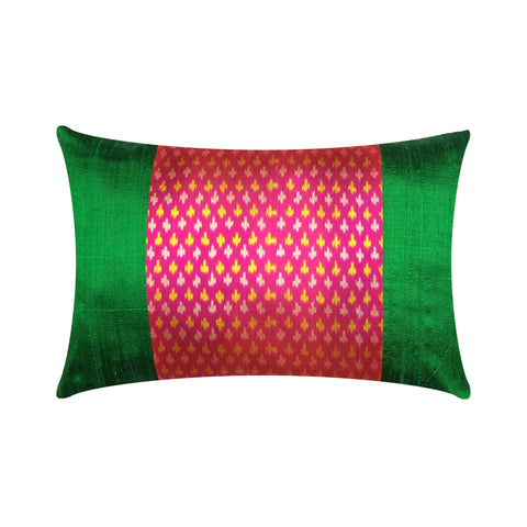 Green and Hot Pink Ikat Raw Silk Lumbar Cushion Cover Buy Online from DesiCrafts