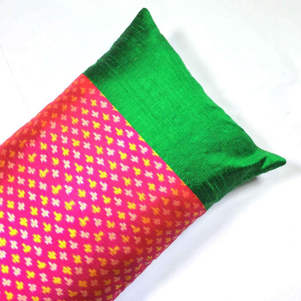Green and Hot Pink Ikat Raw Silk Lumbar Cushion Cover Buy Online from India