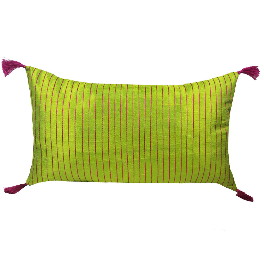 chartreuse kantha raw silk cushion cover