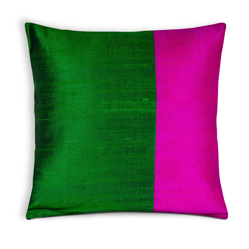 Emerald Green and Hot Pink Cushion Cover