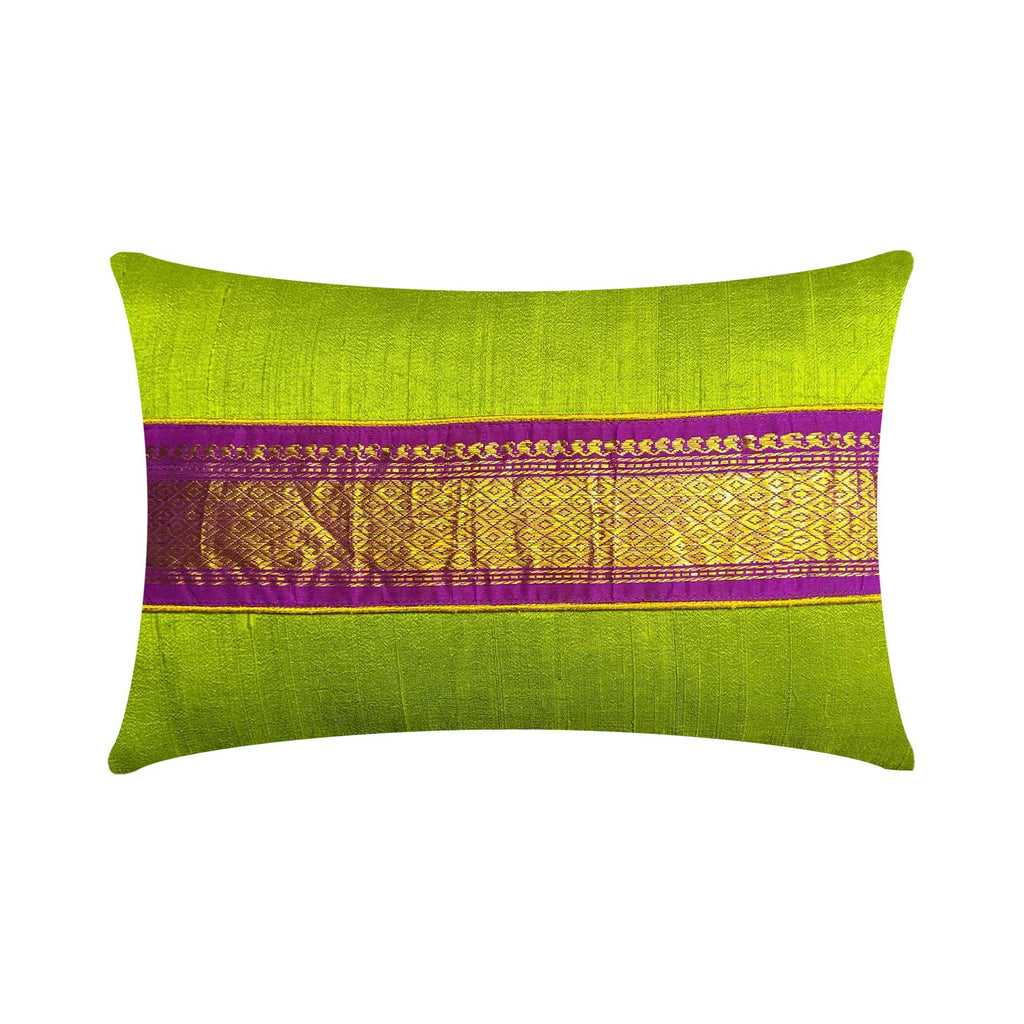 Chartreuse and Purple Raw Silk Pillow