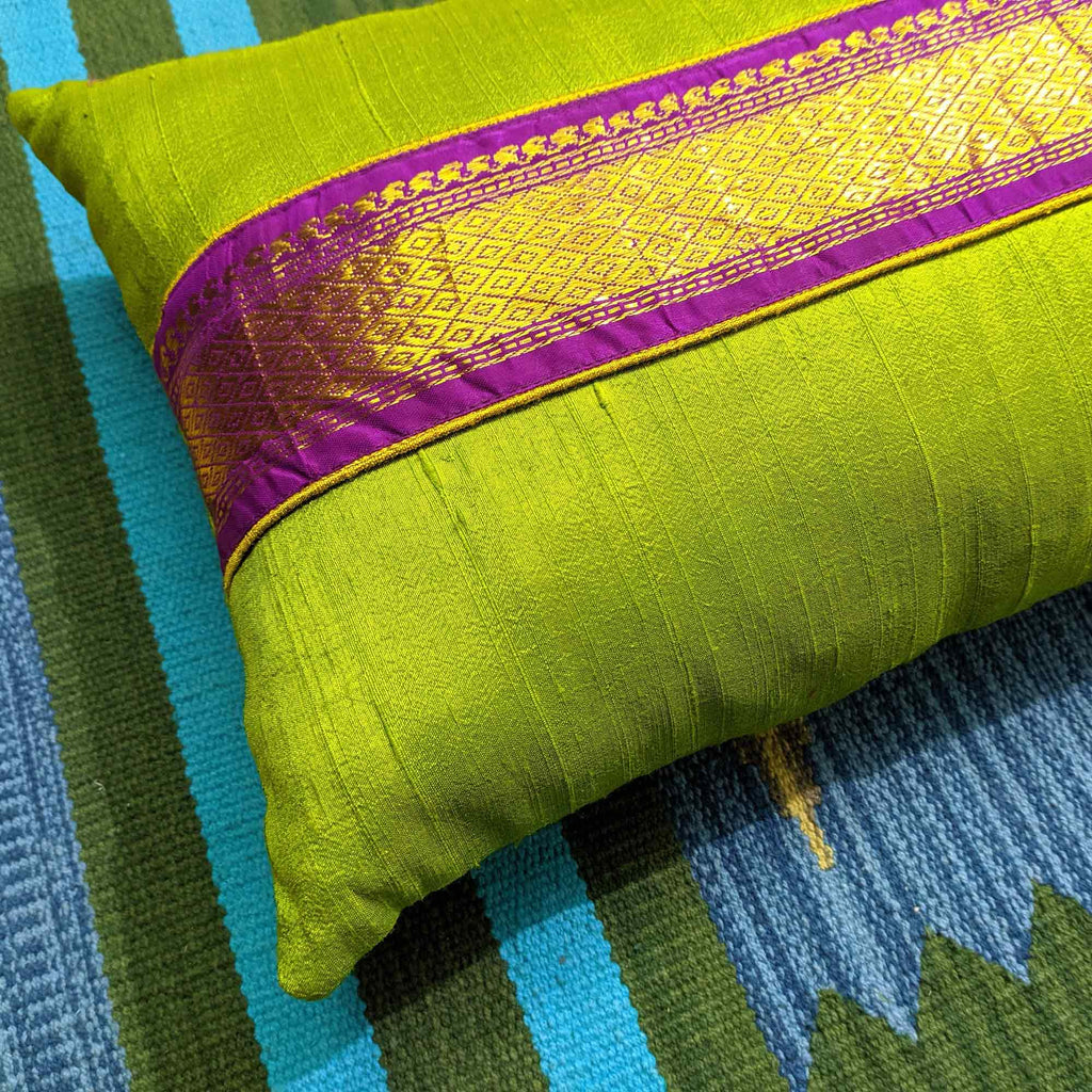 Sari Border Raw Silk Lumbar Cushion Cover