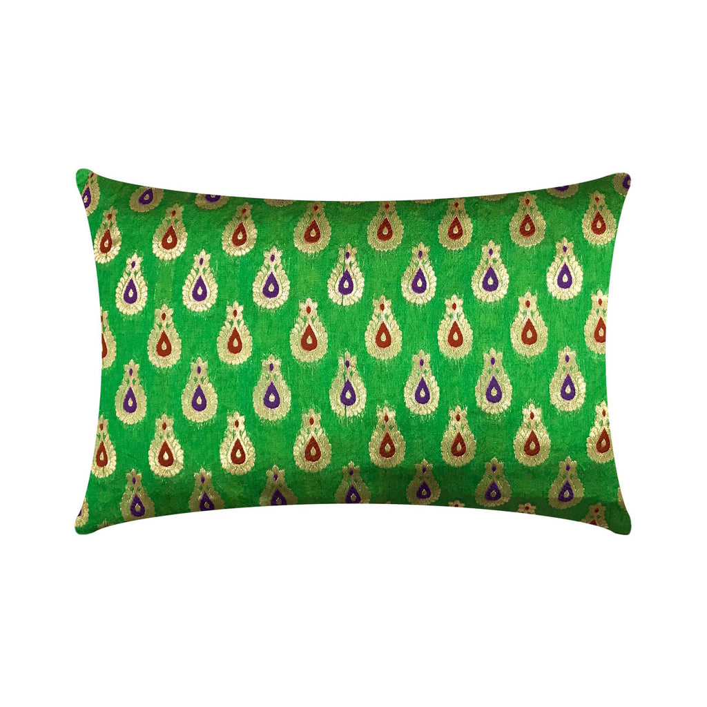 Emerald Green and Gold Chanderi Silk Lumbar Pillow Cover