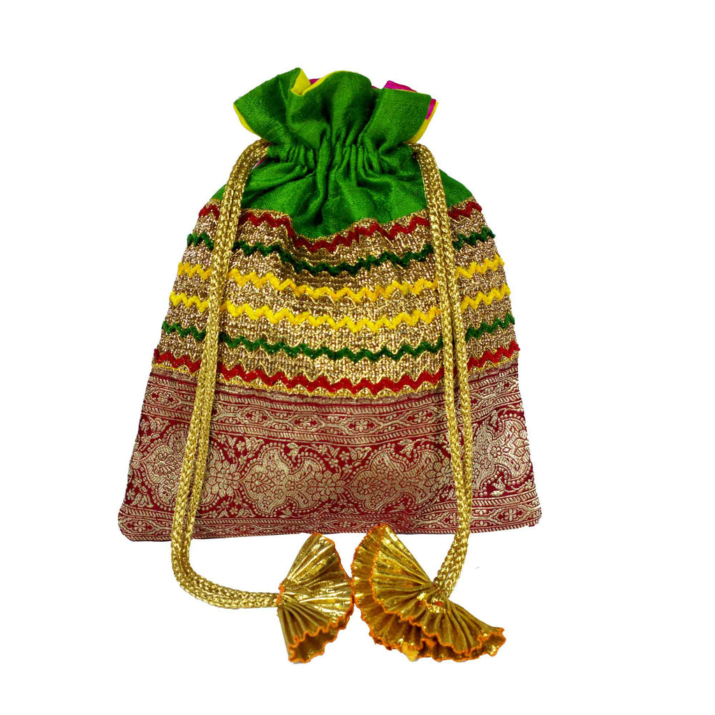 Green Red and Gold Drawstring Silk Bag Buy From DesiCrafts