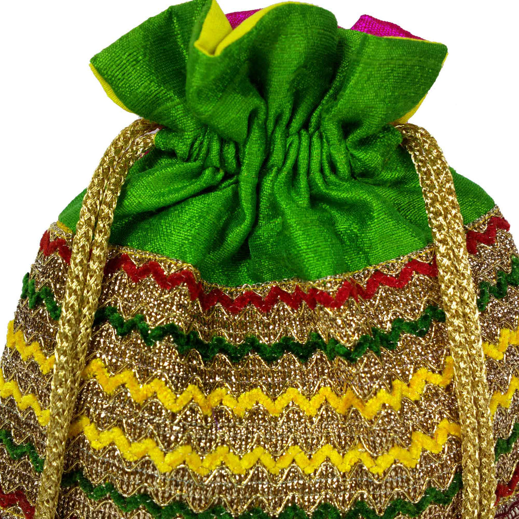 Green Red and Gold Drawstring Silk Bag Buy Online From India