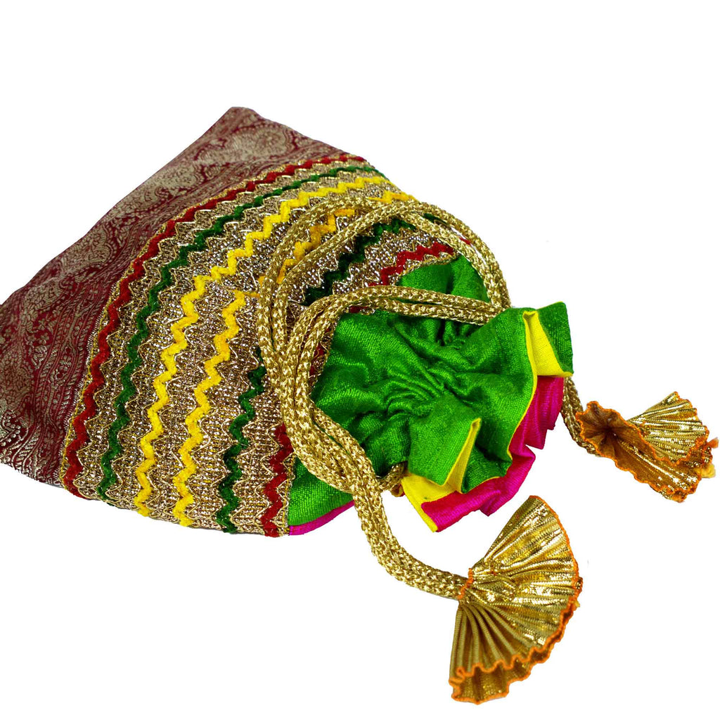 Green Red and Gold Drawstring Silk Pouch for Indian Wedding