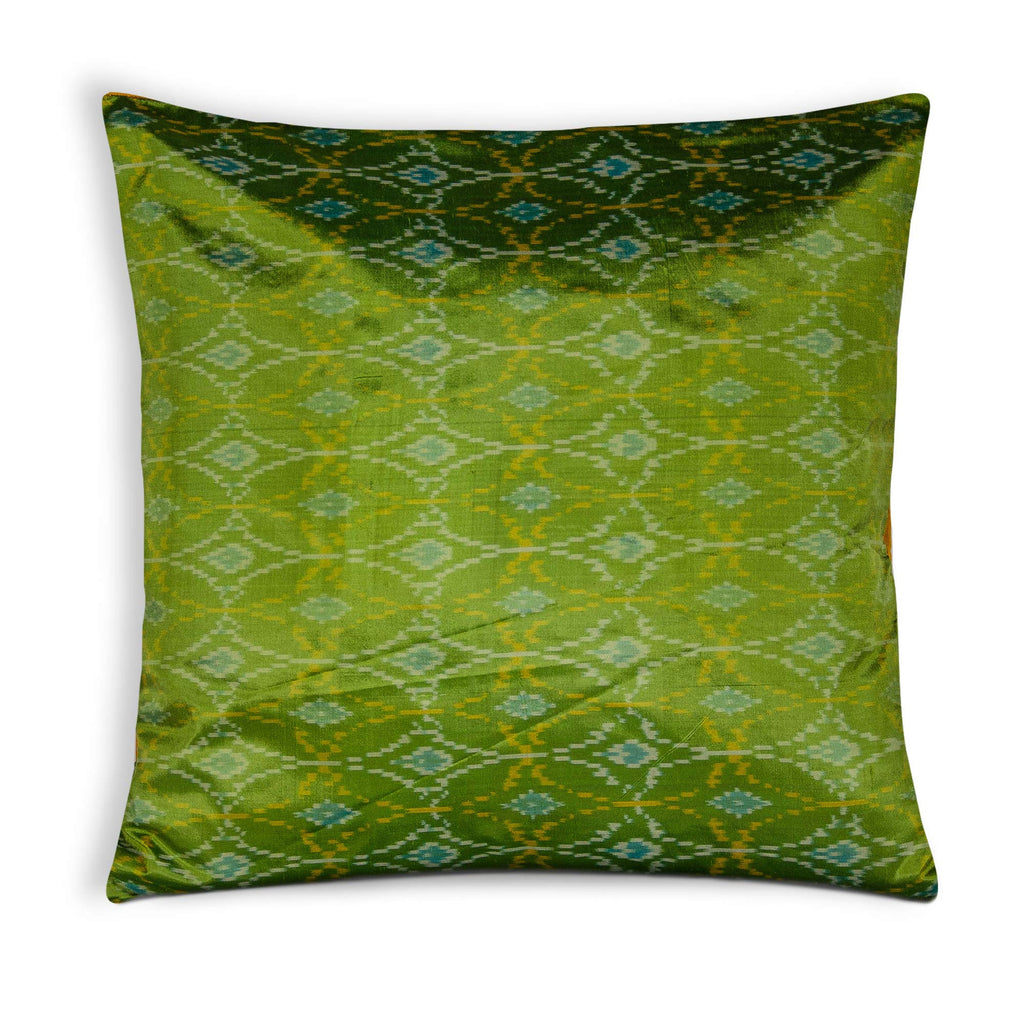 Green and Mustard Pure Silk Pillow Cover
