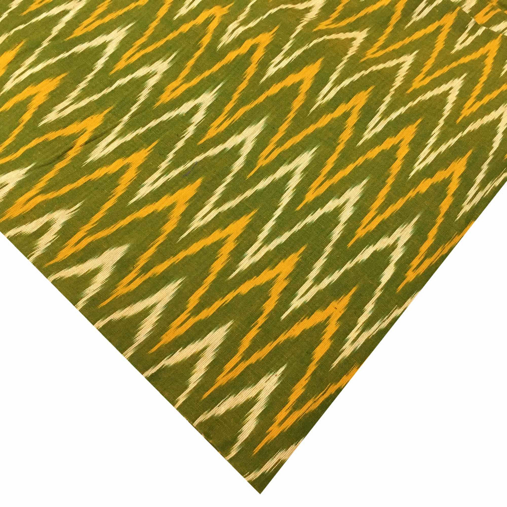 Yellow and Green Handloom Cotton Ikat Slub Fabric